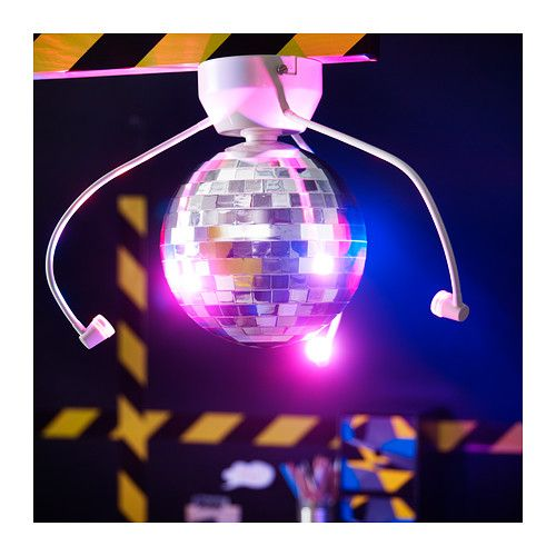 DANSA Disco ball with LED lighting IKEA Lights up your child's room and transforms it into a disco, with a unique atmosphere for fun birthday parties.