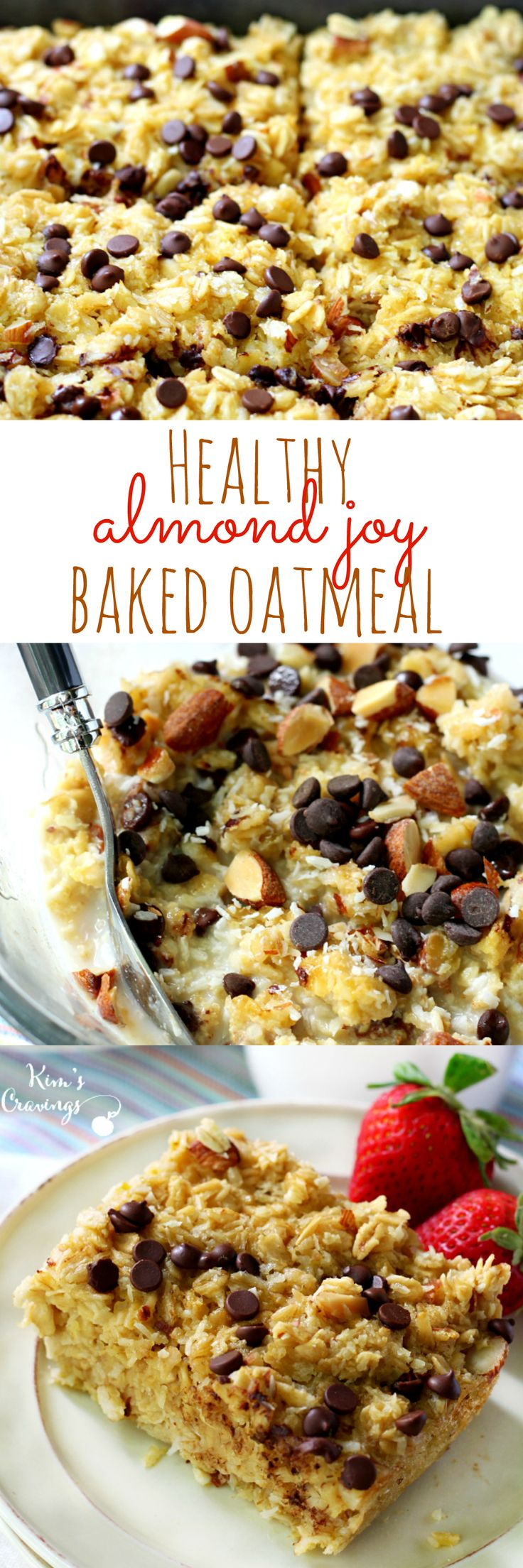 Healthy almond joy baked oatmeal is a fun spin on traditional oatmeal- made with nourishing ingredients, but tastes like your favorite candy bar! #ad