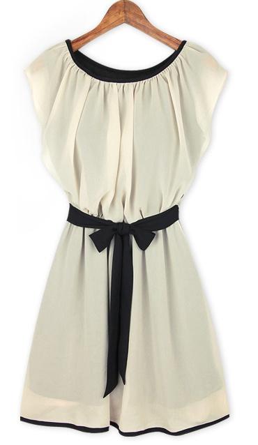 Army Green Round Neck Self-Tie Waist Chiffon Dress #sheinside