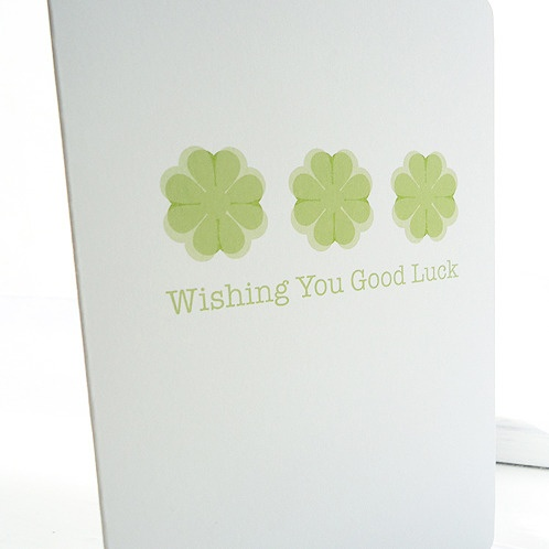 Four Leaf Clover Good Luck Card