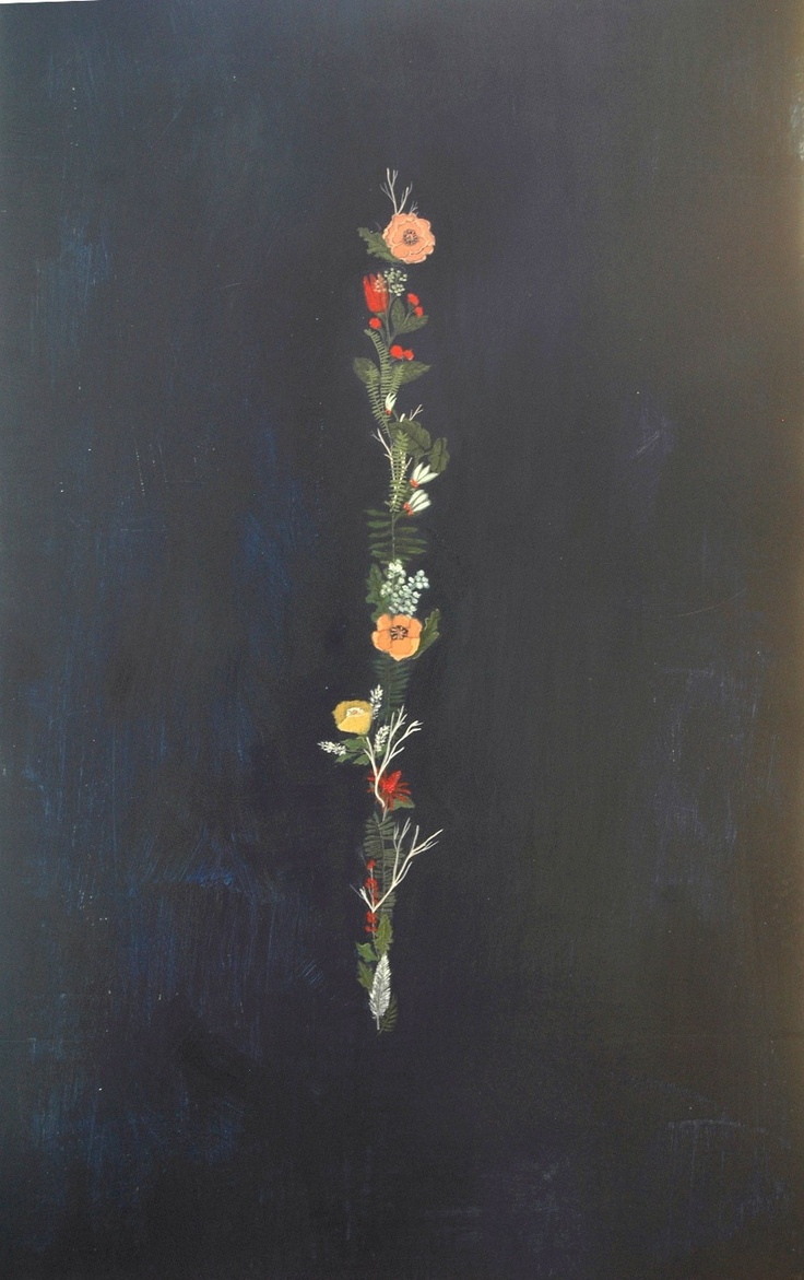 Floral strip tattoo, down lower neck.