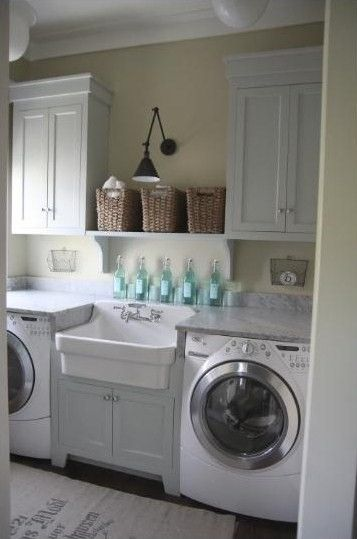 Urban Grace.: Cabinets, Dreams Laundry Rooms, Clean,  Wash Machine,  Automat Washer, Washer And Dryer, Shelves, Rooms Ideas, Farmhouse Sinks