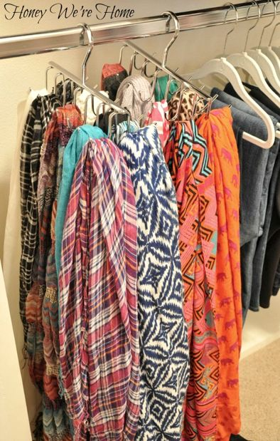 Organizing scarves in your closet