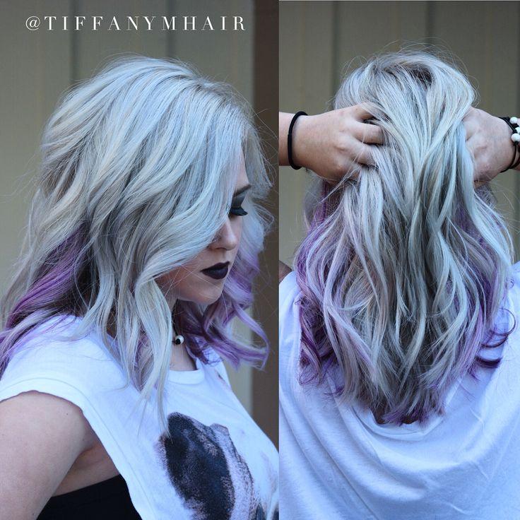 Silver + purple hair by @tiffanymhair