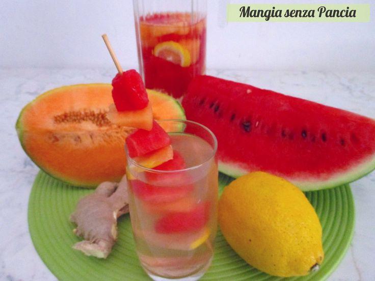 Bevanda depurativa anguria e melone con limone e zenzero: un modo alternativo per bere l'acqua grazie al buon sapore di ingredienti freschi e salutari.