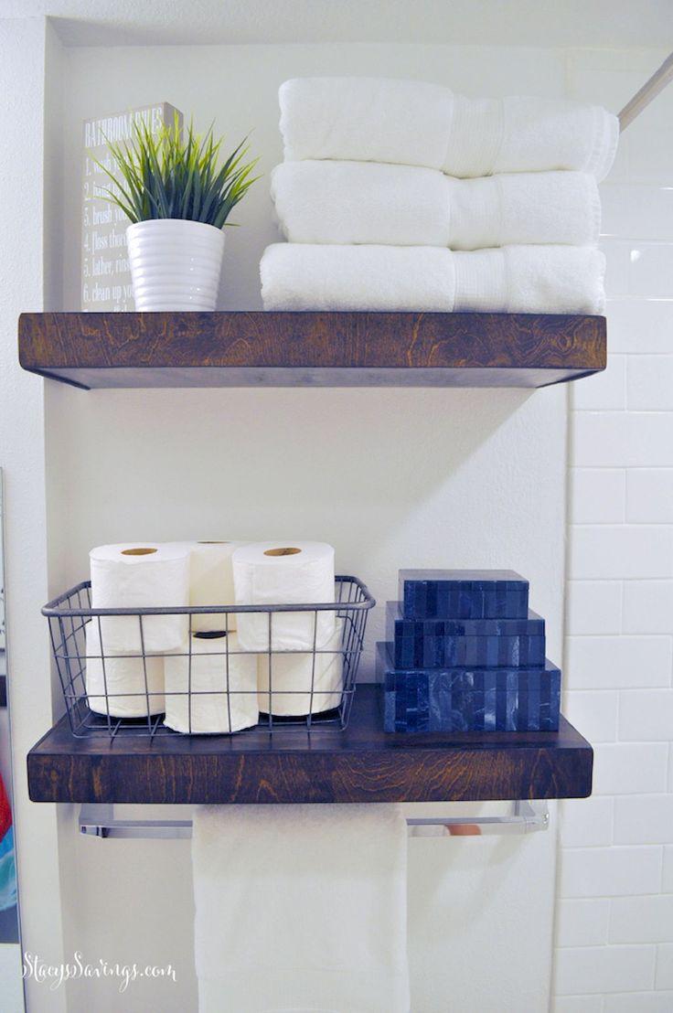 Diy reclaimed wood bathroom shelves edea smith - 50 Quick And Easy Tips Bathroom Organization Ideas