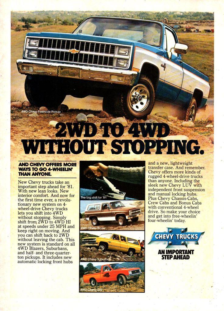 1981 Chevrolet Chevy Fleetside Pickup Blazer Wagon Suburban Wagon Luv Pickup Usa Original Magazine Advertise In 2020 New Chevy Truck Classic Pickup Trucks Chevy Trucks