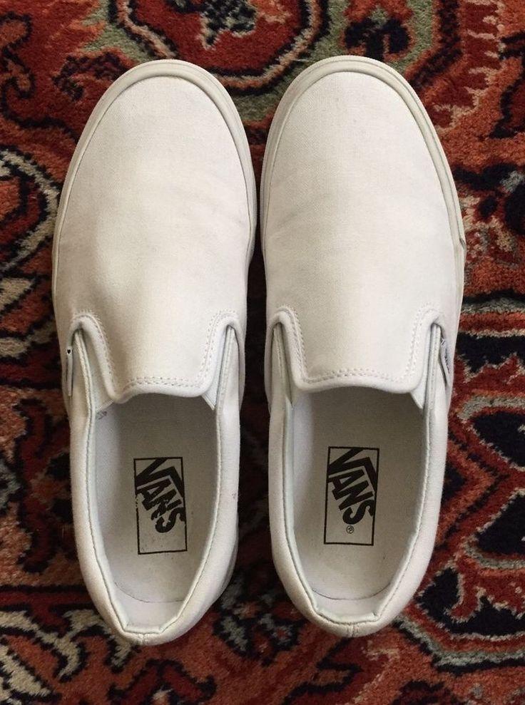 Classic White Slip On Vans sneakers shoes size 7.5 men = 9 women #Vans