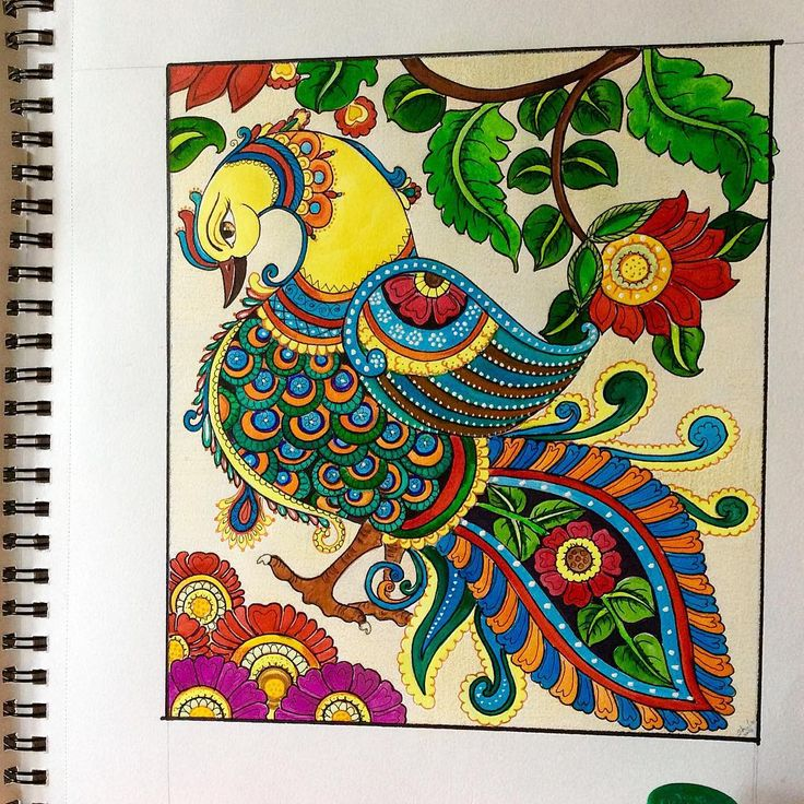 A fusion of #madhubani and #kalamkaari #painting #brushandpen #handmade #opaquecolours #gouache #posterpaint #aquarelle on #cansonpaper #indianinspired #myart #myhobby #art #templebells #homestudio #bangalore #instaart