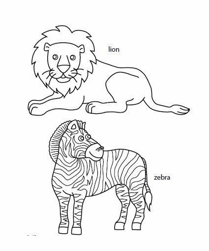 Free printable African savanna animals to color and use for crafts and other learning activities.