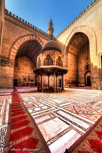 Courtyard of Sultan Hassan Mosque, Cairo, Egypt.