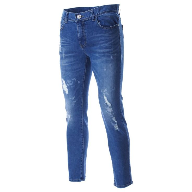 FLATSEVEN Mens Hand Painting Distressed Denim Wash Original Relaxed Jeans Pants (DN19204)