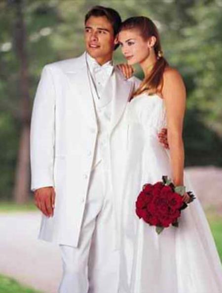 Classic Modern Longer 36 Inch White zoot Tuxedo For Men