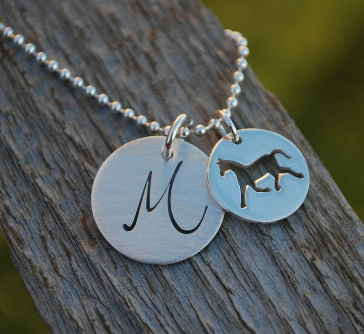 Cowgirl Necklace Custom Horse Jewelry Personalized Initial Necklace Hand Stamped Sterling Silver. $60.00, via Etsy.