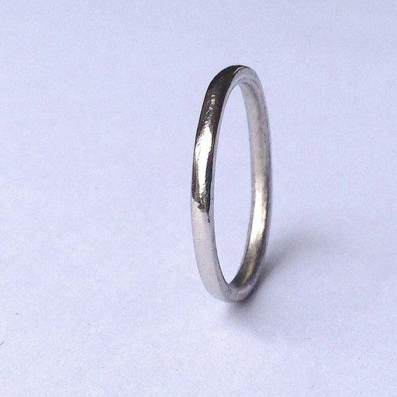 Palladium Wedding Band - Halo Wedding Ring - White Platinum Group - Thin Plain Palladium Ring -  Hypoallergenic - Hallmarked - Palladium 950