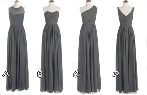 2014-a-line-chiffon-multi-styles-long grey bridesmaid dress party- prom dress evening-women clothing gown custom formal wedding -X226