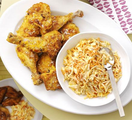 Great for feeding a crowd, simply kick back, enjoy and relax this fried chicken recipe with homemade slaw