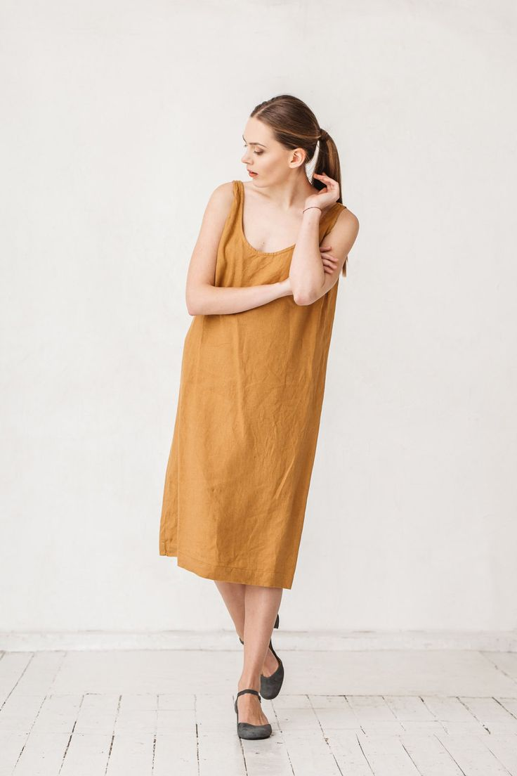 Amber yellow linen summer dress Minimal linen dress Linen