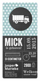 Geboortekaartje vrachtauto sterren krijtbord | birth announcement chalkboard | typografie en letterpress stijl. www.meisenmanneke.nl