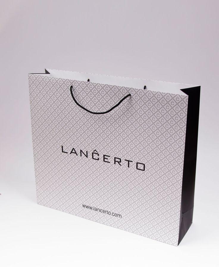 Ecosac, torba papierowa, eko torba, biała, wzorek, Lancerto, www.ecosac.pl