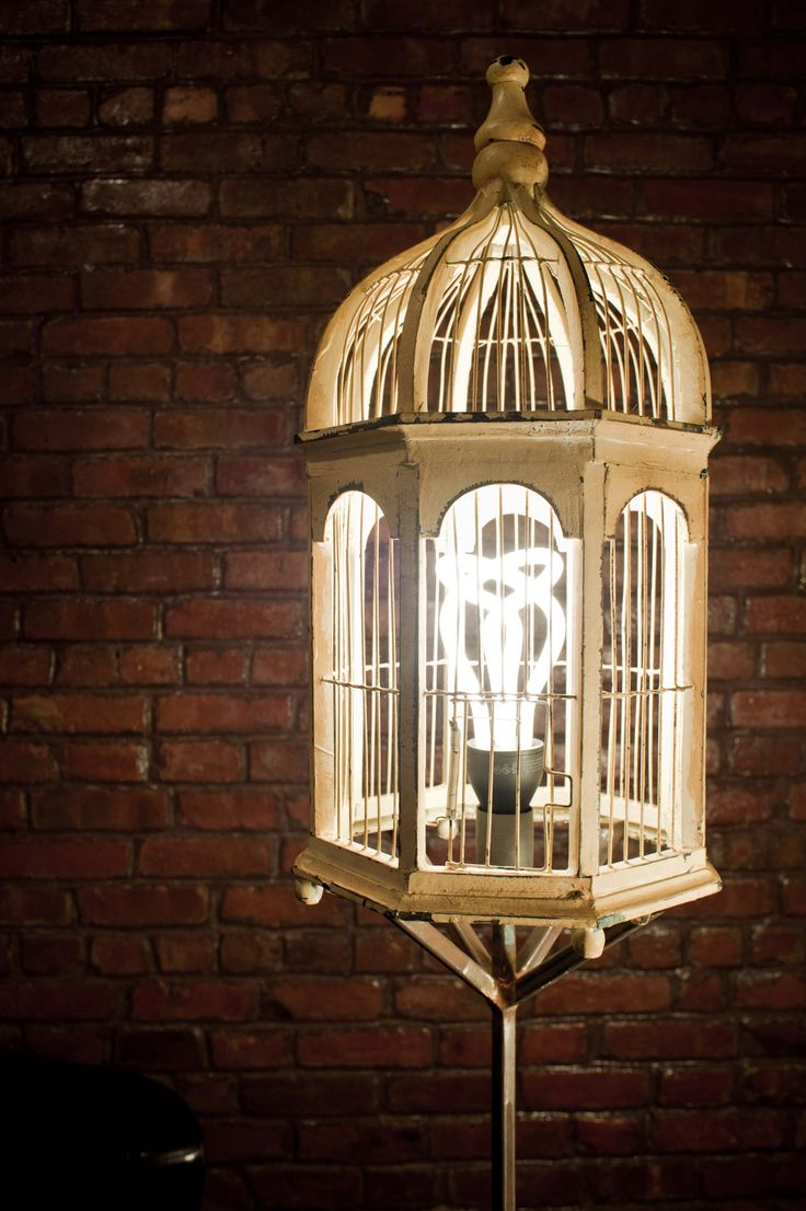 82 best bird cage lights images on pinterest bird cages cage bird cage floor lamp by joel seigle plumen light bulb found bird cage welded frame geotapseo Image collections