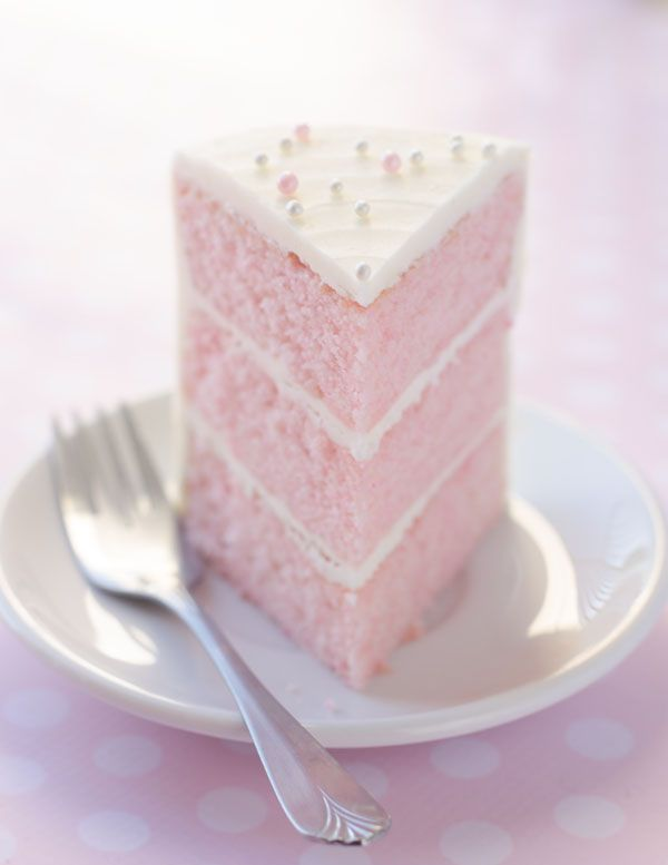 A recipe for a fluffy pink almond layer cake.