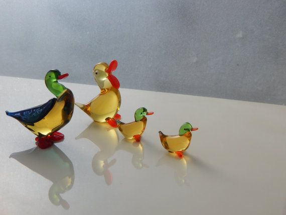 Glass figurine Animal Miniature Four ducks by WoodenPipeAndVintage