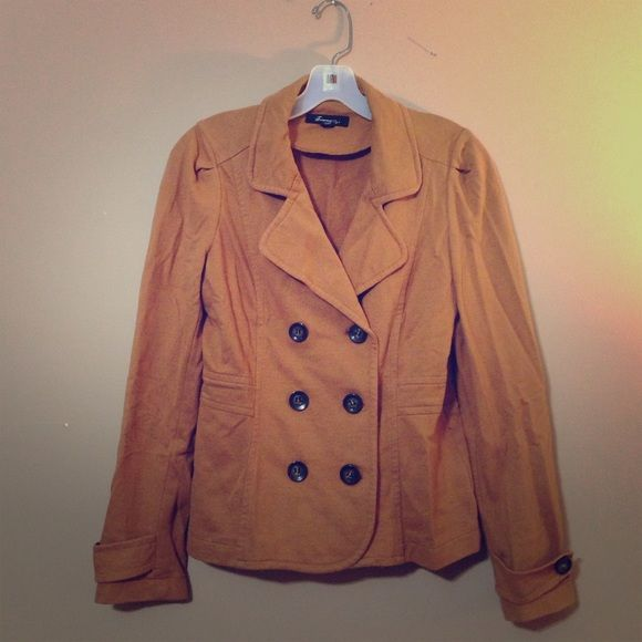 Tan Jacket Great for fall. Tan, camel colored, double breasted jacket. Light weight, cotton-polyester blend. Forever 21 Jackets & Coats