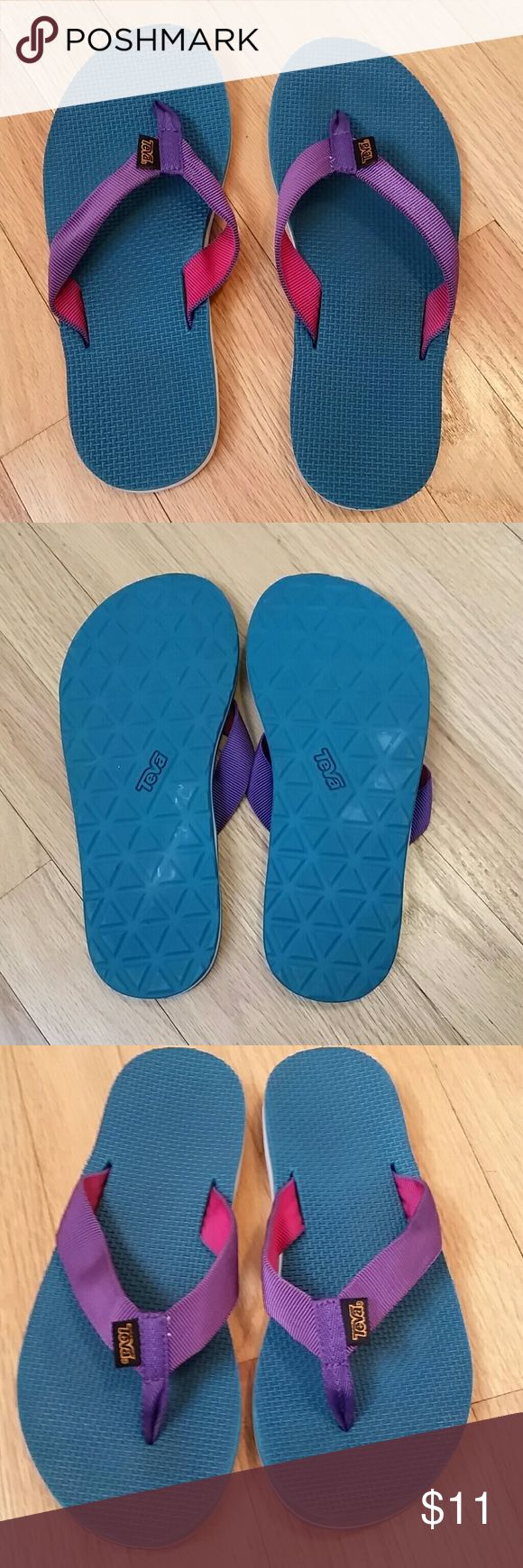 Teva flip flops Like new flip flops. Textured flop prevents slipping and sliding. Cute teal color with purple/pink straps. Slight scuff on right heel-see photos. I wear a 7.5 and my heel is almost hanging off. No size but I think it's a  6.5 or 7 fit. Teva Shoes Sandals