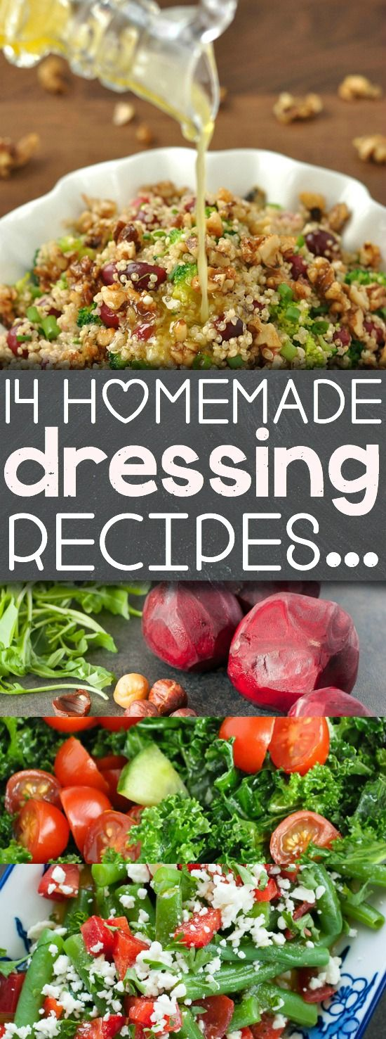 14 Tasty Homemade Dressing Recipes to Shake Up Your Salad Game! :: Love these!
