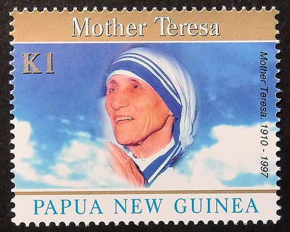 Moeder Teresa 1910-1997  handgemaakt door PassionGiftStampArt