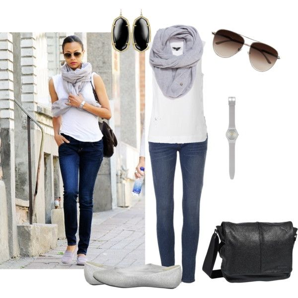 zoe saldana inspired look  classic white tee paired with skinny jeans, ballerina flats, messenger bag and comfy scarf for a nice little casual walk to the market