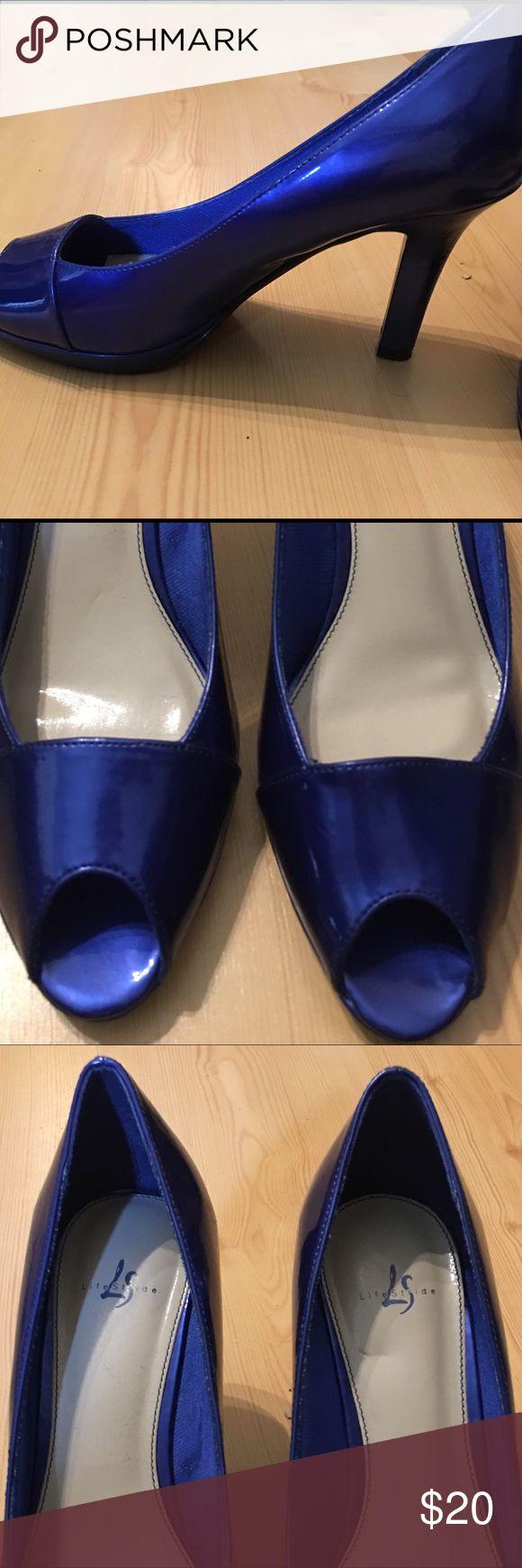 Women's Life Stride Patent Leather Blue Pumps Cobalt blue heels Pumps size 8M antiskid bottoms Shoes Heels