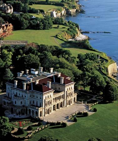 Finished in 1895, The Breakers is the first of two Vanderbilt Mansions in the high-tone city of Newport, Rhode Island—the New England summer resort of the wealthy and famous. Considered one of the finest examples of Golden Age architecture in the U.S., The Breakers represents the imposing Neoclassical style which defined Beaux Arts Architecture.