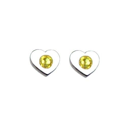 Heart to Heart Sterling Silver November Birthstone Earrings