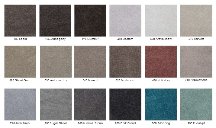 Eco+ Carpets - Sunrise Range, 760 Summer Storm & 185 Mahogany