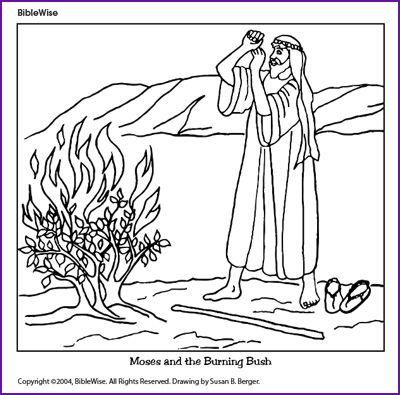 coloring moses and the burning bush kids korner biblewise