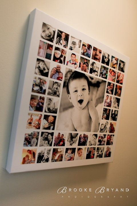 So freaking cute. One large image, lots of small squared images mod-podged onto a canvas.