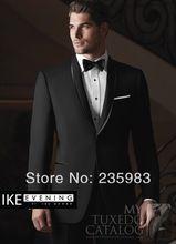 Homens personalizado terno do casamento do noivo de smoking do noivo preto dos homens de ternos grátis frete lã jantar para 2014 ternos de três peças(China (Mainland))