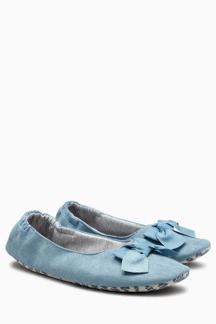 Blue Bow Ballerina Slippers