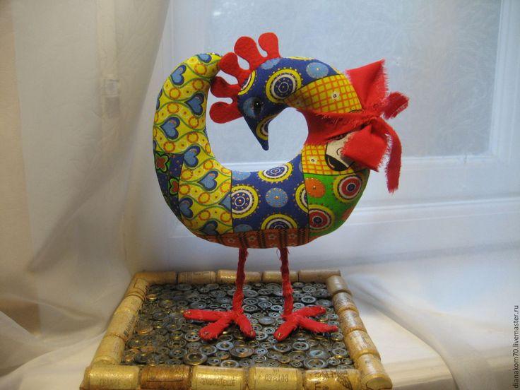 Fabric toy Rooster / Купить Петушок текстильный - комбинированный, петух…