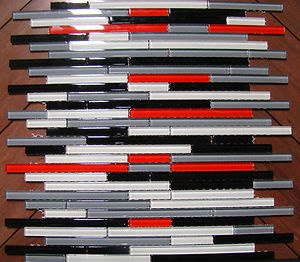 Quotautostrataquot mosaic glass tile red grey black white tiles for Red and black kitchen backsplash