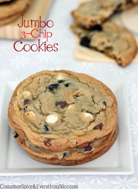Jumbo 3-Chip Cookies - made these with just white chic chip and walnuts and they are YUM! Dessert spoonful is just the right amount for jumbo size :)