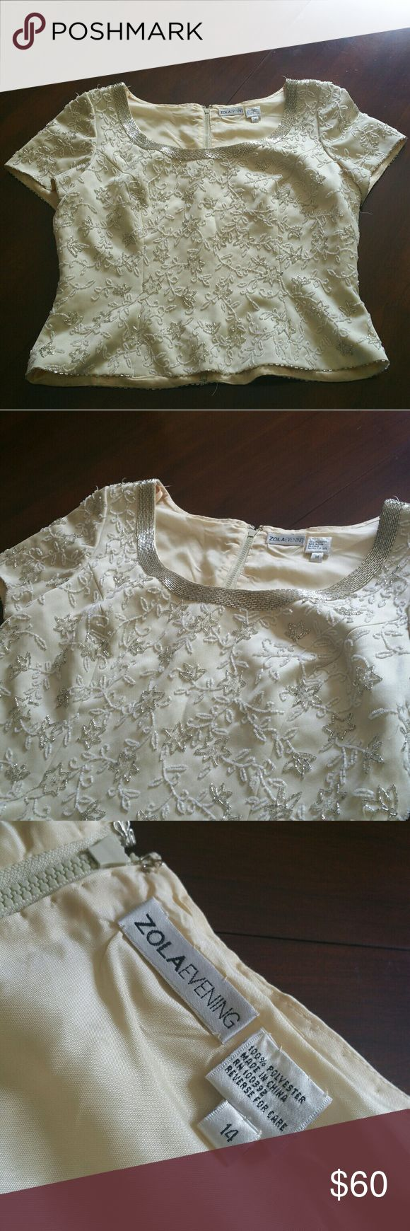 Zola Evening embroidered zip up shirt Zola Evening embroidered cream zip up shirt. Originally $200. Never worn by owner. All embroidery is in tact. We are up for bargains. Zola Evening Tops Blouses