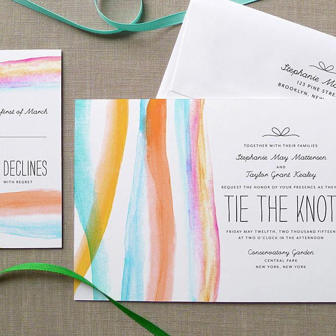 Pastel Brushstroke Wedding Invitation