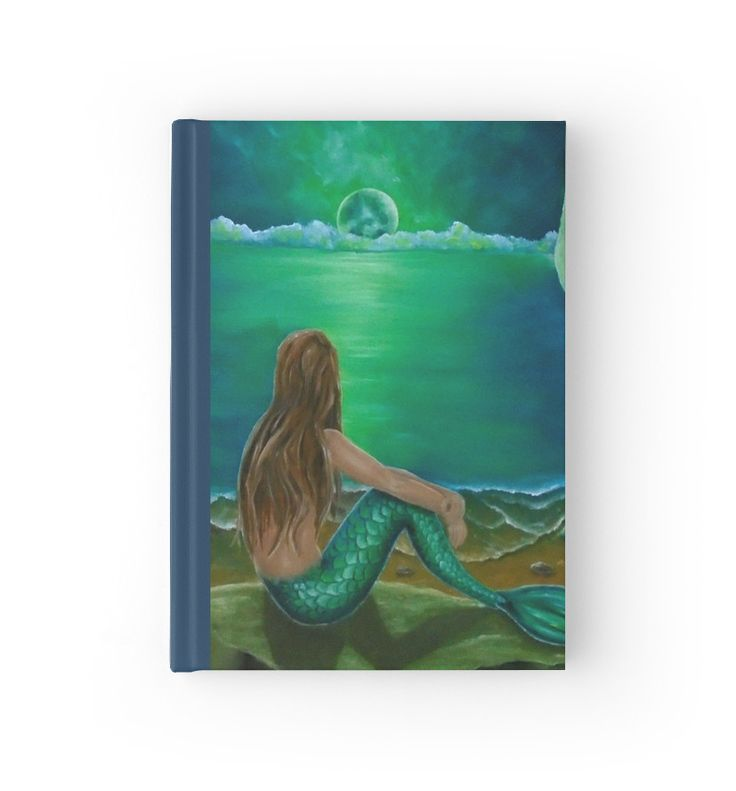 Hardcover Journal,  mermaid,green,blue,fantasy,stationery,school,supplies,cool,unique,fancy,trendy,awesome,beautiful,design,unusual,modern,artistic,for sale,items,products,office,organisation,redbubble