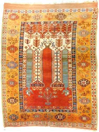 Central Anatolian Prayer Rug,  Konya, wool warp & weft, early 19th century, 1.42 x 1.14 m.
