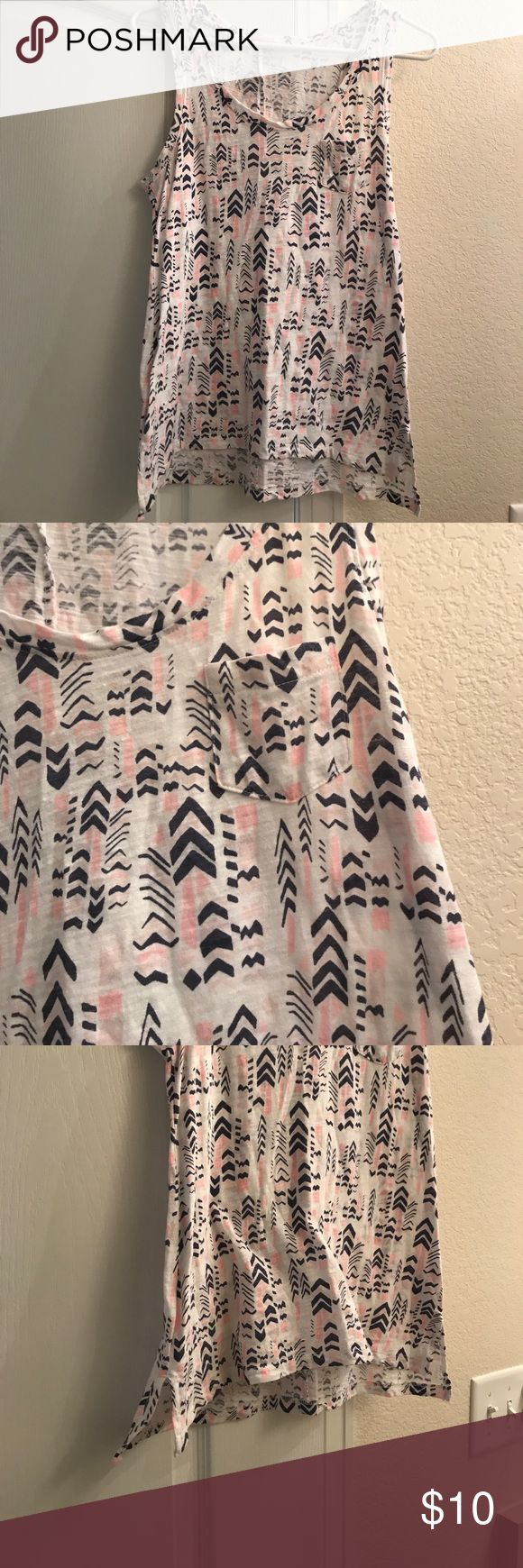 Gap tank top Adorable for summer! Excellent condition. Pink and navy blue. From gap outlet. Size small but runs a little bigger GAP Tops Tank Tops