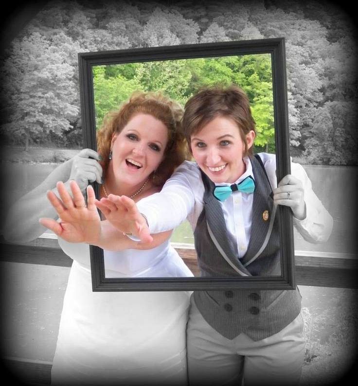 Picture with frame.  Wedding photo.  CUTE pic!  Lesbian wedding!  I love this one!  Picture by @Dawn Rodefer