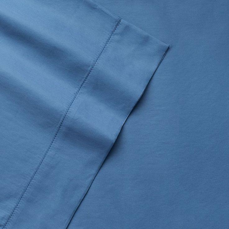 Grand Collection 4-piece 600 Thread Count Malibu Hemstitch Sheet Set, Med Blue